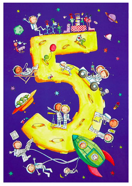 Birthday Card - Space Age 5